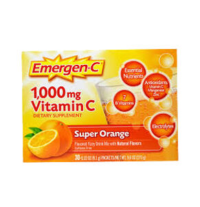 Emergen-C, 1,000 mg Vitamin C, Super Orange, 30 Packets, 0.32 OZ(9.1 lbs) Each