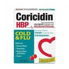 Coricidin HBP Cold & Flu for People with High Blood Pressure, Tablets 20 ea
