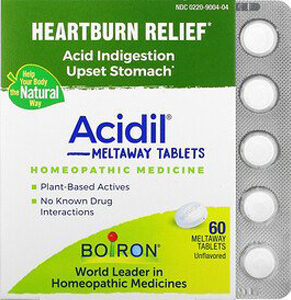 Boiron, Acidil, Acid Indigestion, Unflavored, 60 Meltaway Tablets