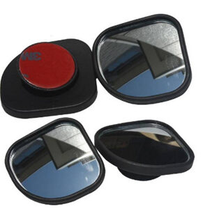Black Frame 360 View Adjustable Wide Angle Convex Rear Side View Blind Spot Mirror for Car
