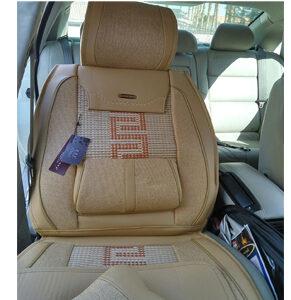 Full Set Fabrics Antiskid Slip-proof Front Rear Cream-coloured Car Seat Cushion Cover- 5 set
