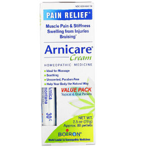 Boiron, Arnicare Cream, Pain Relief, Value Pack, 2.5 oz (70 g) and Approx. 80 Pellets
