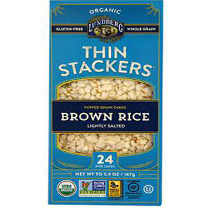 LUNDBERG: Rice Cakes Thin Stackers Brown Rice Lightly Salted, 5.9 oz