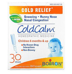 Boiron, ColdCalm, Cold Relief, 6 Months & Up, 30 Single Oral Liquid Doses, .034 fl oz Each