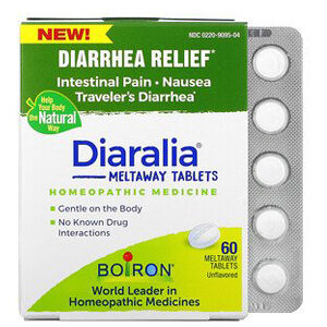 Boiron, Diaralia, Diarrhea Relief, Unflavored, 60 Meltaway Tablets