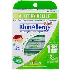 Boiron, Kids, RhinAllergy, Allergy Relief, 3 Tubes, 80 Quick-Dissolving Pellets Each