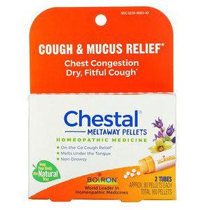 Boiron, Chestal Meltaway Pellets, Cough & Mucus Relief, 2 Tubes, Approx. 80 Pellets Each