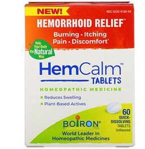 Boiron, HemCalm Tablets, Hemorrhoid Relief, Unflavored, 60 Quick-Dissolving Tablets
