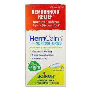Boiron, HemCalm Suppositories, Hemorrhoid Relief, 10 Suppositories