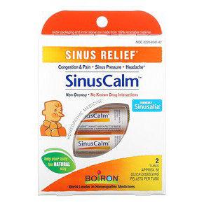 Boiron, SinusCalm, Sinus Relief, 2 Tubes, Approx. 80 Quick-Dissolving Pallets Per Tube