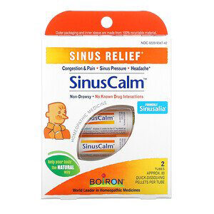 Boiron, SinusCalm, Sinus Relief, 2 Tubes, Approx. 80 Quick-Dissolving Pallets Per Tube