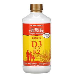 Buried Treasure, Liquid Nutrients, D3 Plus K2, 2,000 IU, 16 fl oz (473 ml)