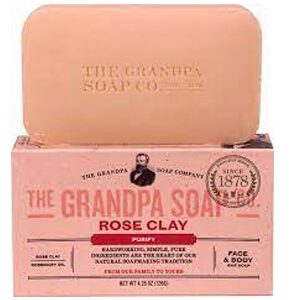 Grandpa's, Face & Body Bar Soap, Purify, Rose Clay, 4.25 oz