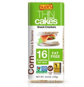 Suzie's Thin Cakes Snack Crackers Gluten Free Corn Quinoa and Sesame -- 4.6 oz