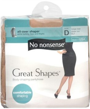 No Nonsense Great Shapes All-Over Shaper Sheer Toe Body Shaping Pantyhose, Size D, Beige Mist 1 pr