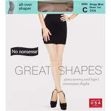 No Nonsense Great Shapes Body-Shaping Pantyhose, Beige Mist Sheer Toe, Size C